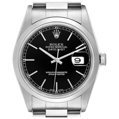 Rolex Datejust Black Dial Steel Men's Watch 16200 Box