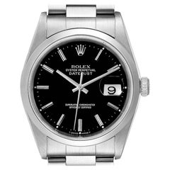 Rolex Datejust Black Dial Steel Men's Watch 16200
