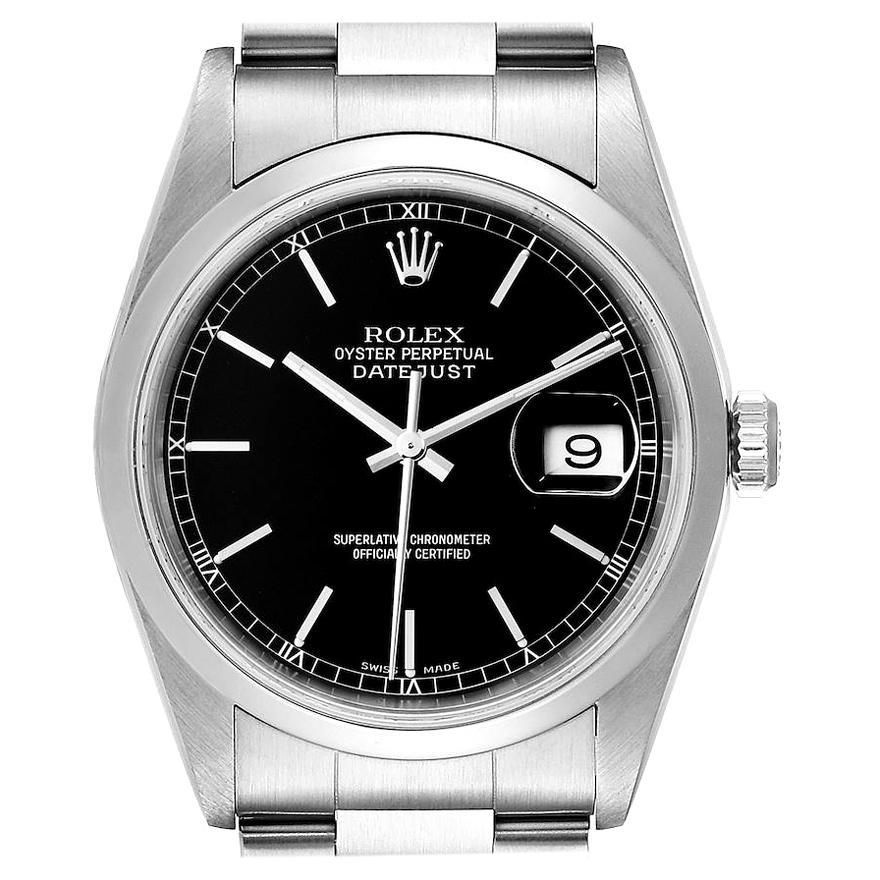 Rolex Datejust Black Dial Steel Men's Watch 16200