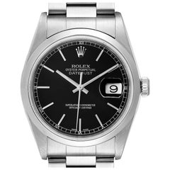 Rolex Datejust Black Dial Steel Men's Watch 16200 Papers