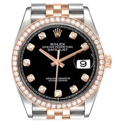 Rolex Datejust Black Diamond Dial Steel EveRose Gold Watch 126231 Box Card