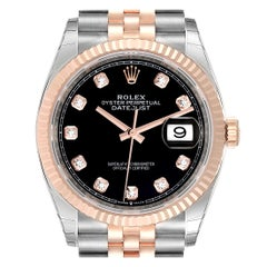Rolex Datejust Black Diamond Dial Steel EveRose Gold Watch 126231 Unworn