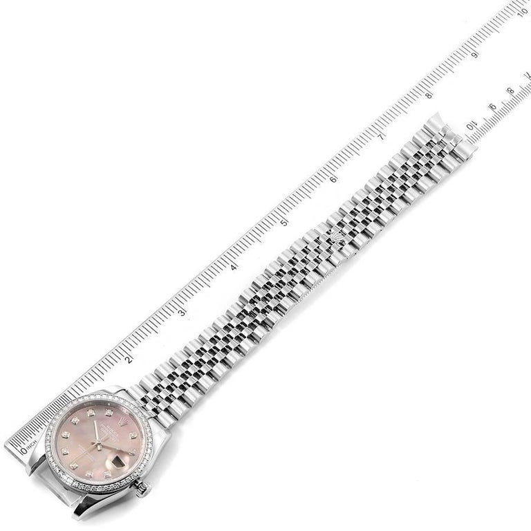 Rolex Datejust Black MOP Diamond Dial Bezel Steel Men's Watch 116244 Box For Sale 7