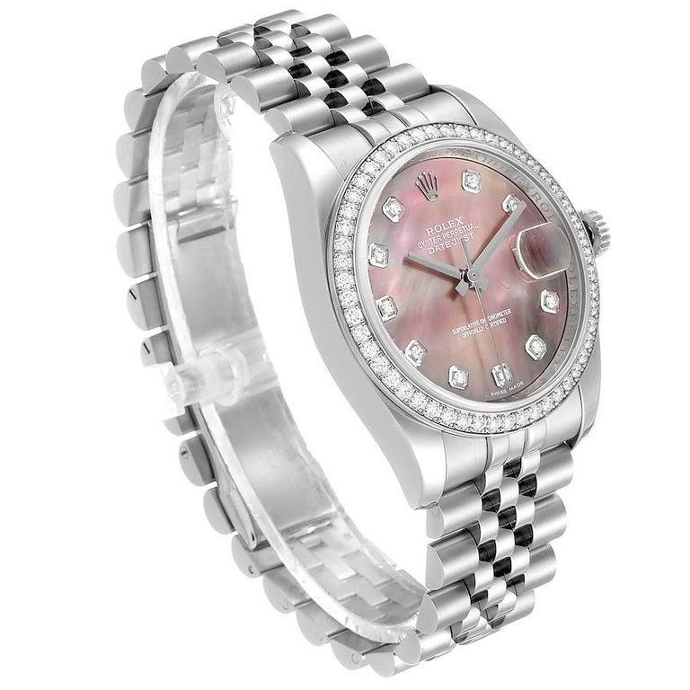 Rolex Datejust Black MOP Diamond Dial Bezel Steel Men's Watch 116244 Box In Excellent Condition For Sale In Atlanta, GA