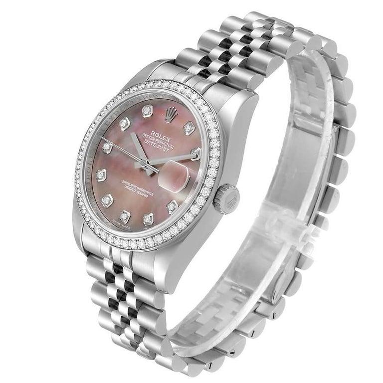 Rolex Datejust Black MOP Diamond Dial Bezel Steel Men's Watch 116244 Box For Sale 1