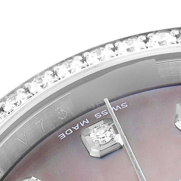 Rolex Datejust Black MOP Diamond Dial Bezel Steel Men's Watch 116244 Box For Sale 3