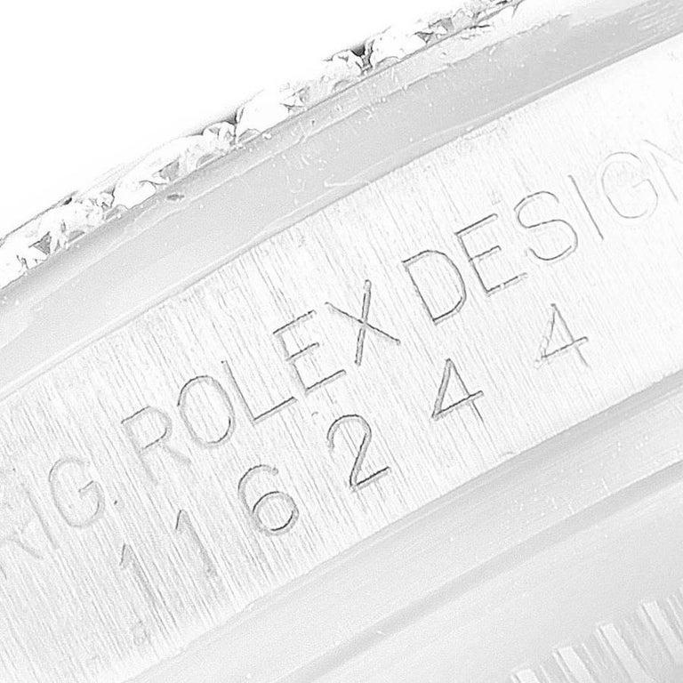Rolex Datejust Black MOP Diamond Dial Bezel Steel Men's Watch 116244 Box For Sale 4