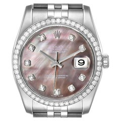 Rolex Datejust Black MOP Diamond Dial Bezel Steel Men's Watch 116244 Box