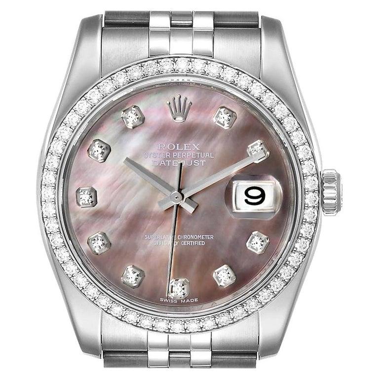 Rolex Datejust Black MOP Diamond Dial Bezel Steel Men's Watch 116244 Box For Sale
