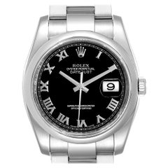 Rolex Datejust Black Roman Dial Steel Men's Watch 116200 Box Card