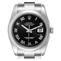 Rolex Datejust Black Sunbeam Dial Oyster Bracelet Steel Men's Watch 116200