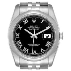Rolex Datejust Black Sunbeam Dial Steel Men's Watch 116200 Box Papers