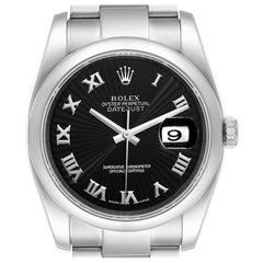Rolex Datejust Black Sunbeam Roman Dial Steel Mens Watch 116200