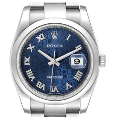 Rolex Datejust Blue Anniversary Dial Steel Men's Watch 116200 Box Papers