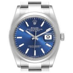 Rolex Datejust Blue Baton Dial Steel Men's Watch 126200 Unworn