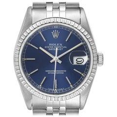 Rolex Datejust Blue Dial Jubilee Bracelet Steel Men's Watch 16220