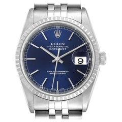Rolex DateJust Blue Dial Jubilee Bracelet Steel Men's Watch 16220 Papers