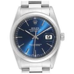 Rolex Datejust Blue Dial Oyster Bracelet Steel Men's Watch 16200