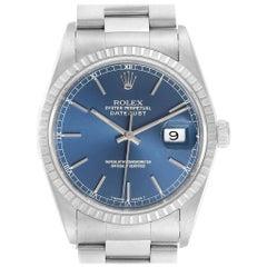 Rolex Datejust Blue Dial Oyster Bracelet Steel Men's Watch 16220