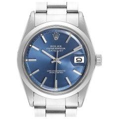 Rolex Datejust Blue Dial Steel Vintage Men's Watch 1600 Box Papers