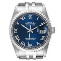 Rolex Datejust Blue Dial Steel Vintage Men's Watch 16030