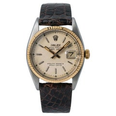 Rolex Datejust Bubbleback Vintage 6305 Men's Automatic Watch 18 Karat Two-Tone