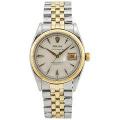 Rolex Datejust Bubbleback Vintage 6305 Men's Automatic Watch 18 Karat Two-Tone