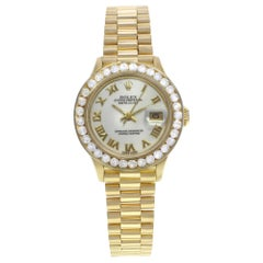 Rolex Datejust Custom Diamond Bezel Yellow Gold Ladies Watch 69178