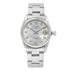 Rolex Datejust Custom Diamond MOP Dial Steel Automatic Ladies Watch 68240
