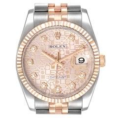 Rolex Datejust Dial Steel Rose Gold Diamond Unisex Watch 116231 Box Card
