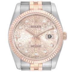 Rolex Datejust Dial Steel Rose Gold Diamond Unisex Watch 116231