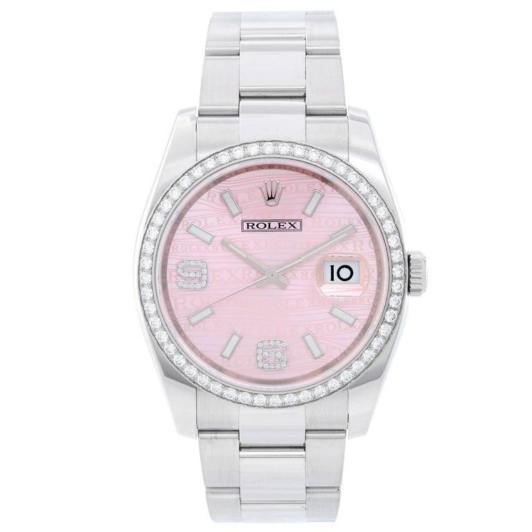 Rolex Stainless Steel Diamond Datejust Automatic Wristwatch Ref 116244