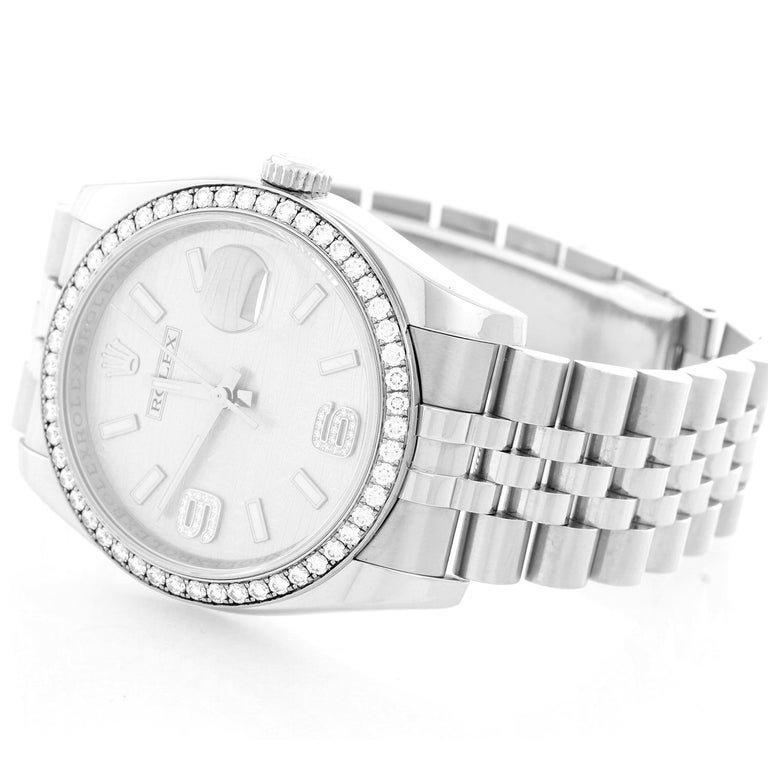 Rolex Datejust Diamond Bezel  Men's Steel Watch 116244 - Automatic winding, 31 jewels, Quickset, sapphire crystal. Stainless steel case with factory 52 diamond and 18k white gold bezel  (36mm diameter). Rhodium Waves dial with silver-tone hands and