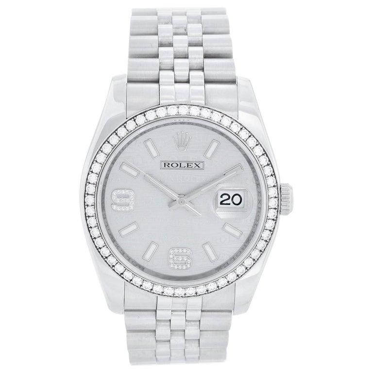 Rolex Datejust Diamond Bezel Men's Steel Watch 116244 For Sale