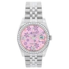 Rolex Datejust Diamond Bezel Pink Floral Dial Men's Steel Watch 116244