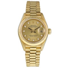 Rolex Datejust Diamond Dial 69178 Yellow Gold Ladies Watch