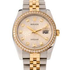 Rolex Datejust Diamond Dial and Bezel Gold SS Men Watch Ref 116243