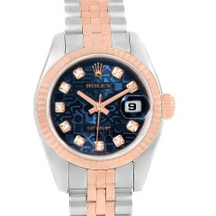 Rolex Datejust Eve Rose Gold Steel Blue Dial Diamond Ladies Watch 179171