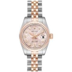 Rolex Datejust EveRose Gold Steel Diamond Ladies Watch 179171