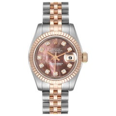 Rolex Datejust EveRose Gold Steel Diamond Ladies Watch 179171 Unworn