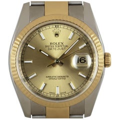 Rolex Datejust Gents Stainless Steel and 18 Karat Gold Champagne Dial B&P 116233