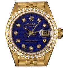 Rolex Datejust Gold Rare Diamond Lapis Lazuli Pyramid Dial 69138 Watch