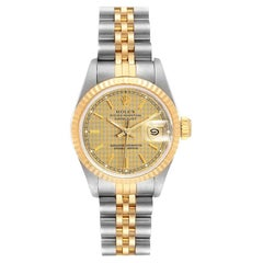 Rolex Datejust Houndstooth Dial Steel Yellow Gold Ladies Watch 69173