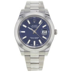 Rolex Datejust II 116300 Blio Blue Sticks Dial Steel Automatic Men's Watch