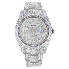 Rolex Datejust II 116300 Custom Diamonds 30cts 2008 Steel Automatic Men's Watch