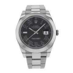 Rolex Datejust II 116300 Grey Roman Dial Steel Automatic Men's Watch