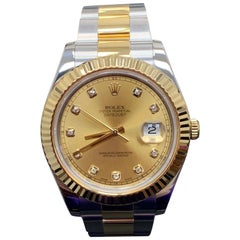 Rolex Datejust II 116333 18K Yellow Gold and Stainless Diamond Dial Box, Booklet