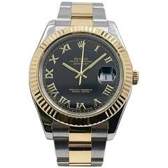 Rolex Datejust II 116333 Black Roman Dial 18K Gold Steel Box Paper Service, 2020