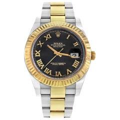 Rolex Datejust II 116333 Black Roman Dial Steel 18 Karat Gold Automatic Watch
