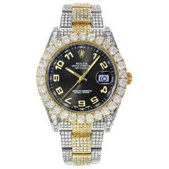 Rolex Datejust II 116333 Custom 22 Carat Diamond Black Arabic Dial Men's Watch